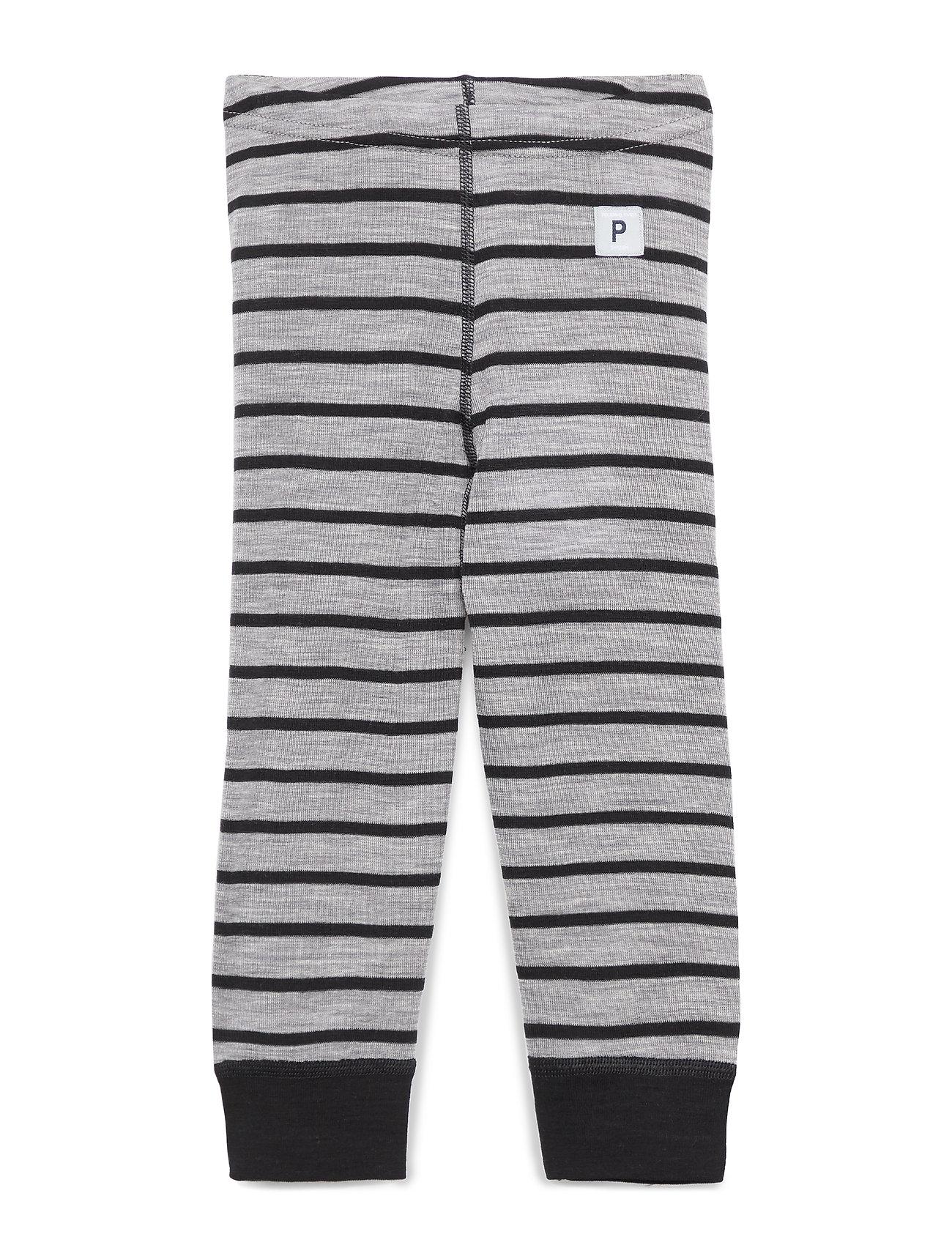 Polarn O. Pyret Long Johns Wool Striped Baby - GREYMELANGE