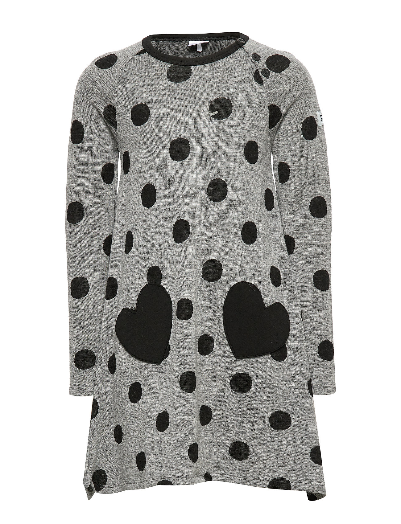 Polarn O. Pyret Dress l/s Wool AOP PreSchool - GREYMELANGE