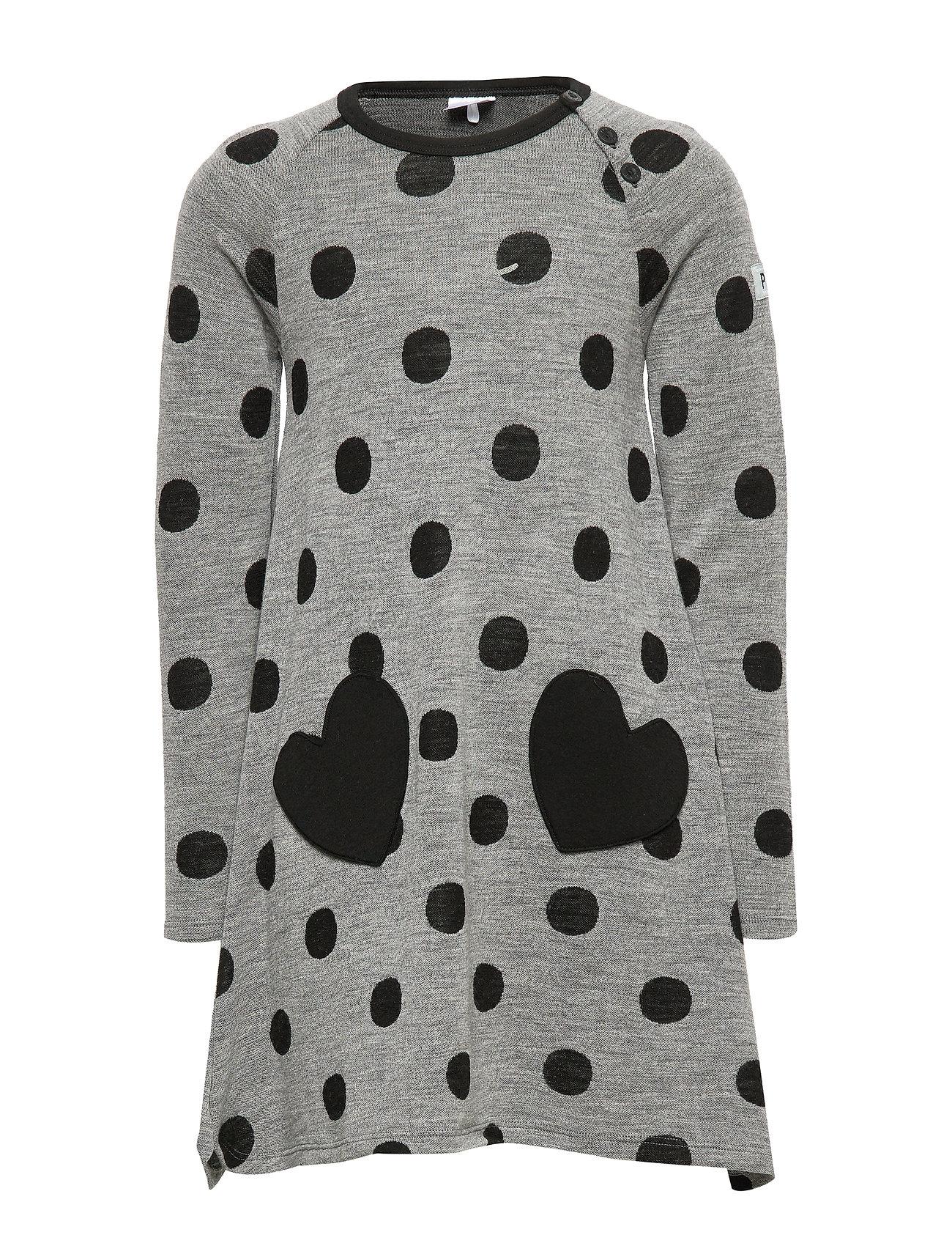 Polarn O. Pyret Dress l/s Wool AOP PreSchool - GREYMELANGE