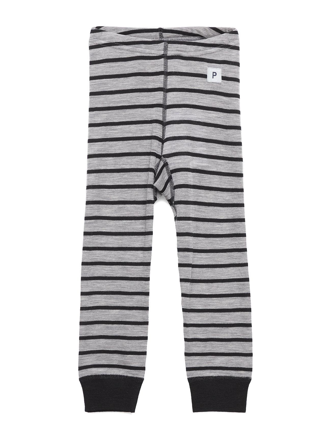 Polarn O. Pyret Long Johns Wool Striped Pre-shool - GREYMELANGE