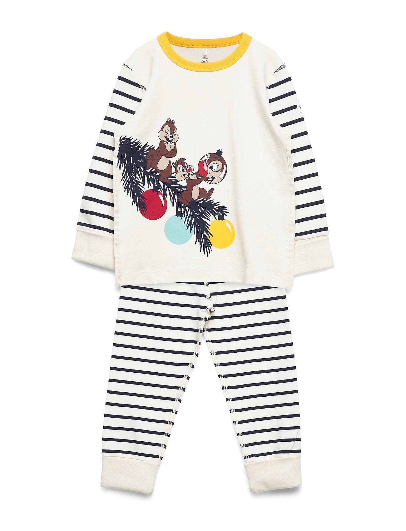 Polarn O. Pyret Pyjamas Striped Preschool - EGRET