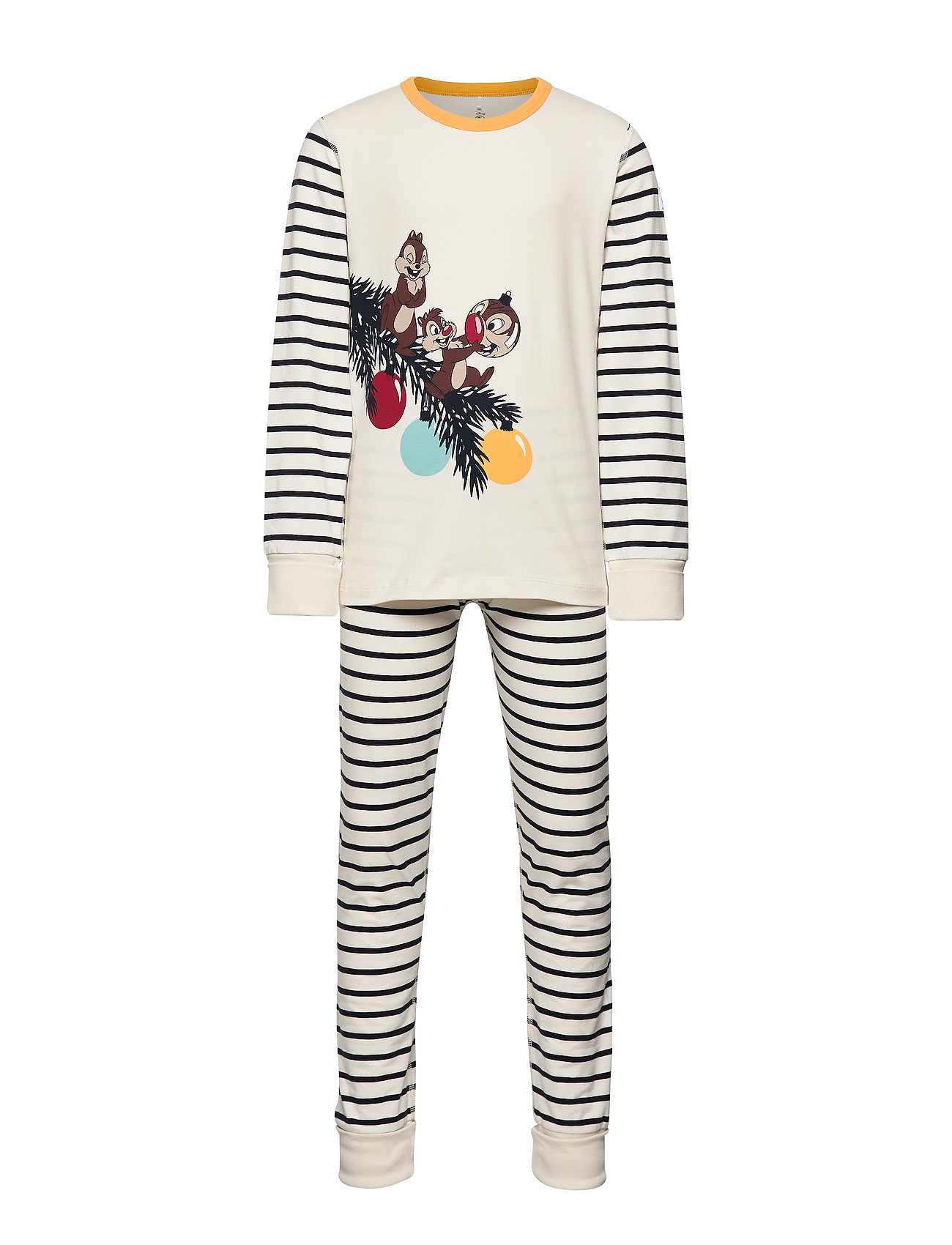 Polarn O. Pyret Disney Collection Pyjamas Striped School - EGRET