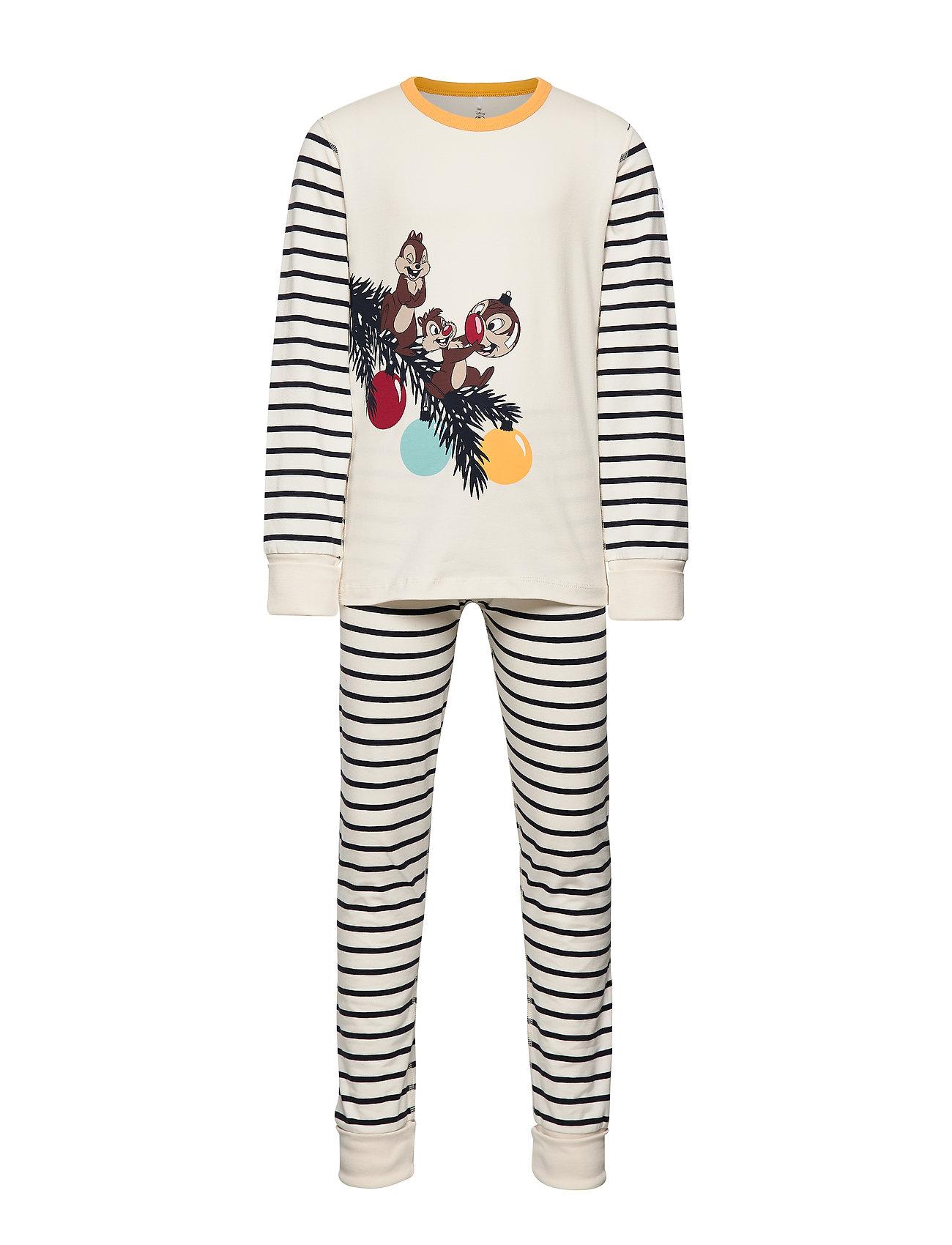 Polarn O. Pyret Pyjamas Striped School - EGRET