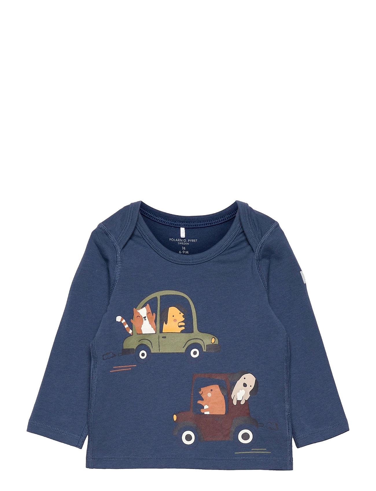 Top L/S Printed Baby Langærmet T-shirt Blå Polarn O. Pyret
