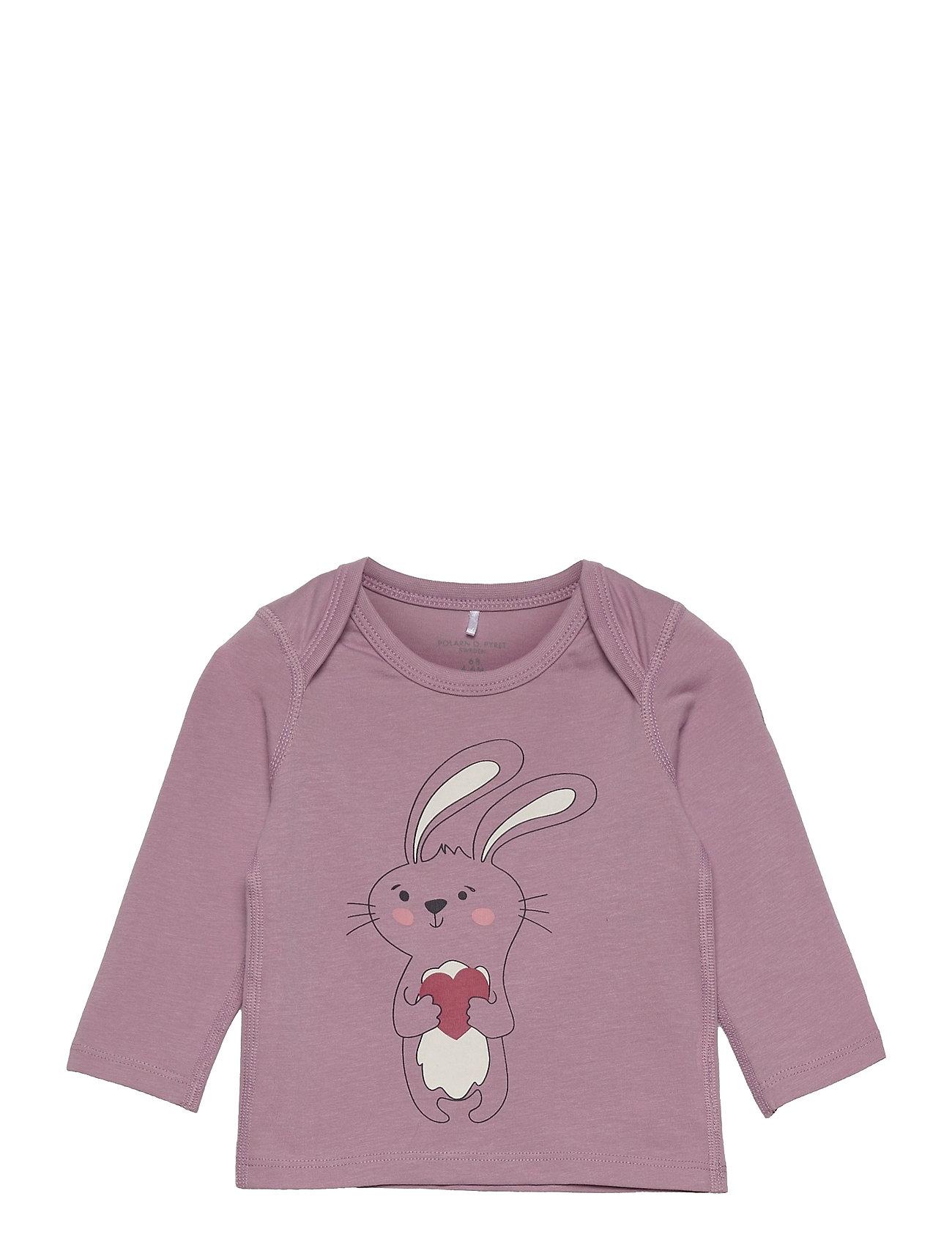 Top L/S Printed Baby Langærmet T-shirt Lyserød Polarn O. Pyret