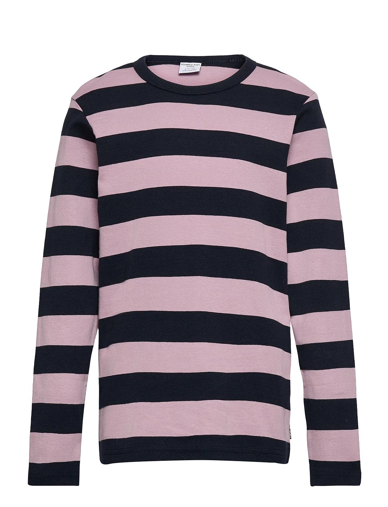 T-Shirt L/S Stripe School Langærmet T-shirt Lilla Polarn O. Pyret