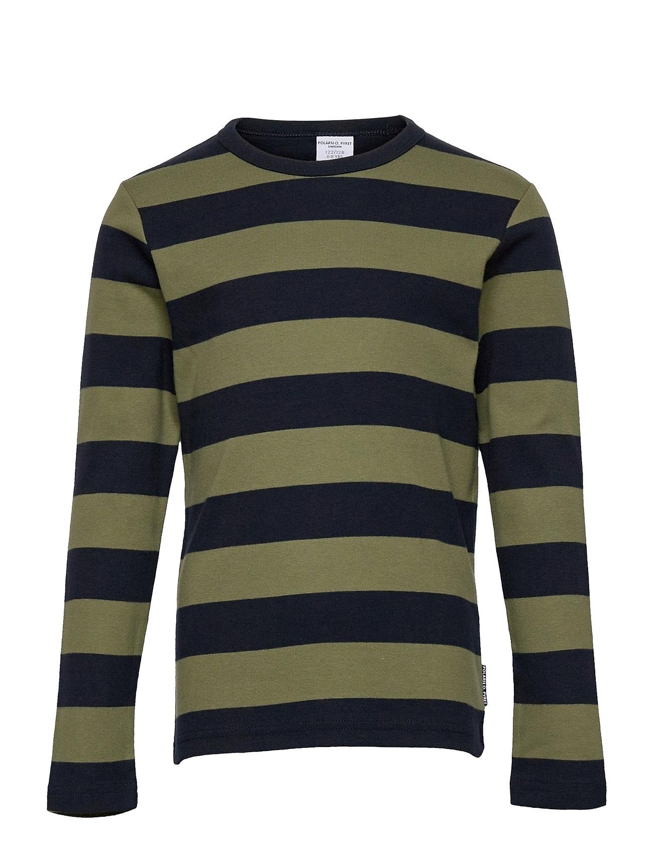 T-Shirt L/S Stripe School Langærmet T-shirt Grøn Polarn O. Pyret
