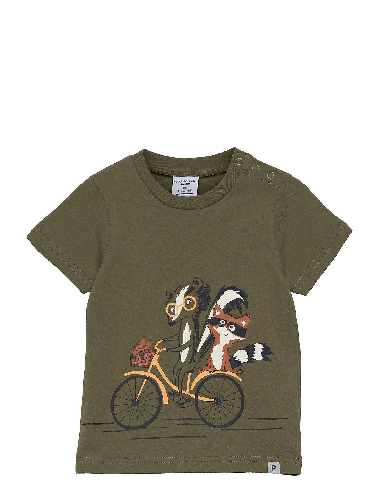T-Shirt S/S Print Preschool T-shirt Grøn Polarn O. Pyret