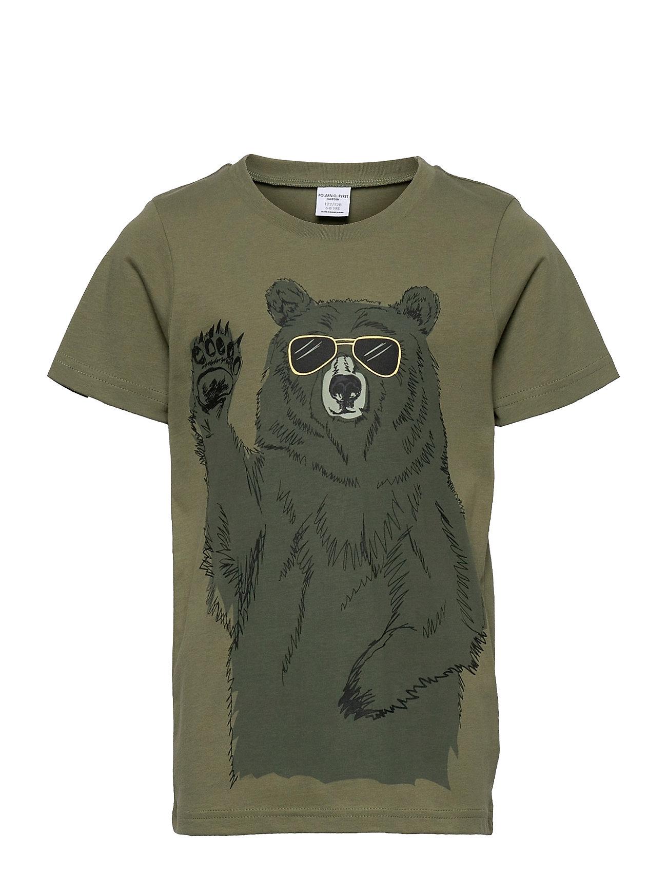 T-Shirt S/S Print School T-shirt Grøn Polarn O. Pyret