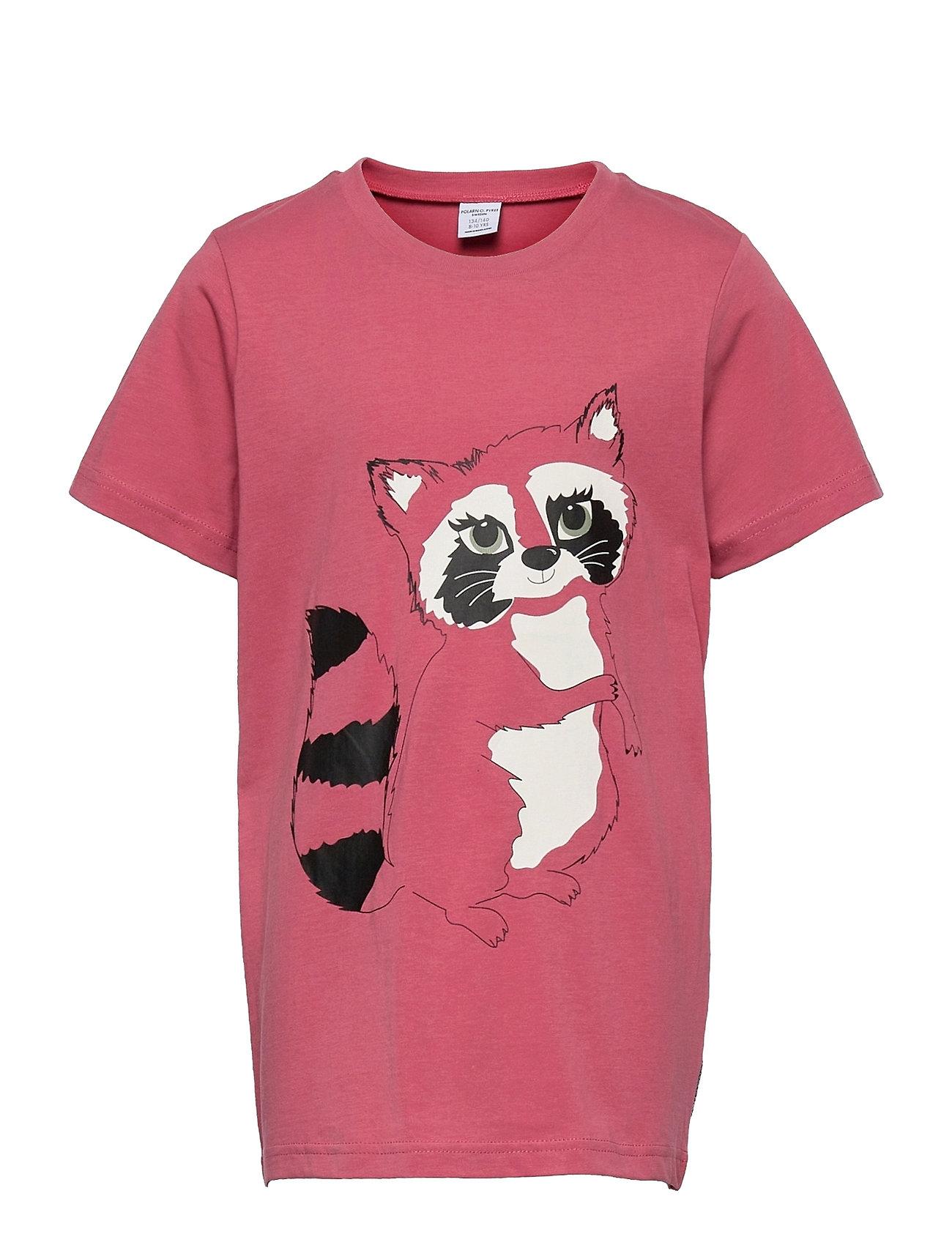 T-Shirt S/S Print School T-shirt Lyserød Polarn O. Pyret