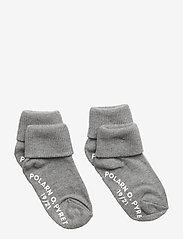Socks 2-P Turn-up Anti Slip Solid - GREYMELANGE