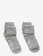 Polarn O. Pyret - Socks 2-P Turn-up Anti Slip Solid - greymelange - 1