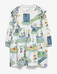 Polarn O. Pyret - Dress L/S AOP Baby - kleider - smoke green - 0