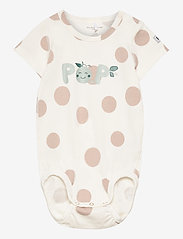 Polarn O. Pyret - Body S/S AOP Baby - kurzärmelige - egret - 0