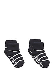 Socks 2-P Turn-up Anti Slip PO.P Stripe Baby - DARK SAPPHIRE