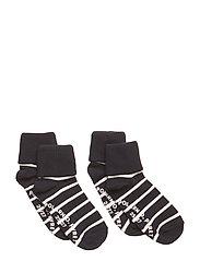 Socks 2-P Turn-up Anti Slip PO.P Stripe Preschool - DARK SAPPHIRE