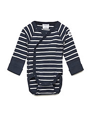 Polarn O. Pyret Body Wrapover PO.P Stripe Newborn - DARK SAPPHIRE