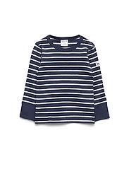 Polarn O. Pyret T-shirt l/s PO.P Stripe Baby - DARK SAPPHIRE