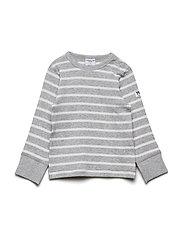 Polarn O. Pyret T-shirt l/s PO.P Stripe Baby - GREYMELANGE