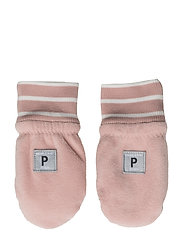 Wind Fleece Mitten Solid/PO.P Stripe Baby - MELLOW ROSE