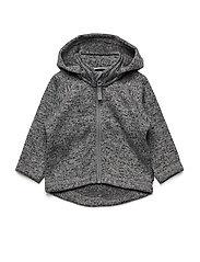Zip Up Fleece Solid Baby - GREYMELANGE
