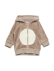 Sweatshirt Velour Newborn - TAUPE GRAY