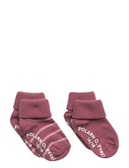 Sock 2-Pack Striped Turnup - ROSE WINE