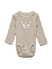 Body applique l/s Newborn - SIMPLY TAUPE