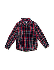 Shirt Long Sleeve Checked Pre-school - DARK SAPPHIRE