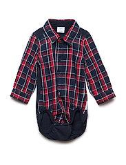 Body Long Sleeve w. Collar Checked Newborn - DARK SAPPHIRE