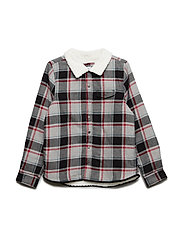 Shirt Long Sleeve Checked School - GREYMELANGE