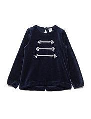 Top Long Sleeve Velour Preschool - DARK SAPPHIRE