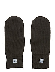 Double-knit wool mittens - BLACK