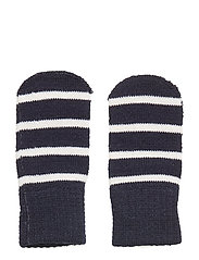 Striped Wool Thumbless Magic Mittens - DARK SAPPHIRE