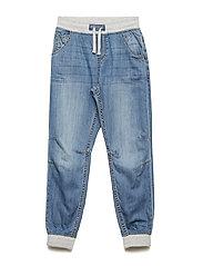 Jeans w. Rib Cuff School - LIGHT DENIM
