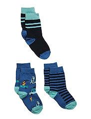 Socks 3-P Jaquard/Striped Preschool - DELFT