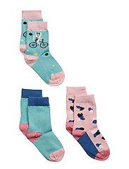 Socks 3-P Jaquard/Solid Preschool - AQUA HAZE