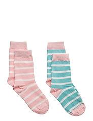 Socks 2P PO.P Stripe Preschool - ALMOND BLOSSOM