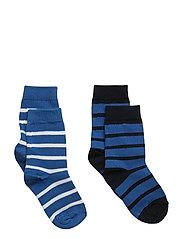 Socks 2P PO.P Stripe Preschool - DARK SAPPHIRE