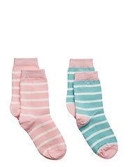 Socks 2P PO.P Stripe School - ALMOND BLOSSOM