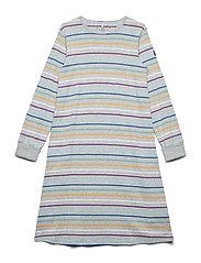 Nightdress Long Sleeve PO.P Stripe School - GREYMELANGE