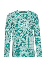 T-Shirt l/s  front print school - AQUA HAZE