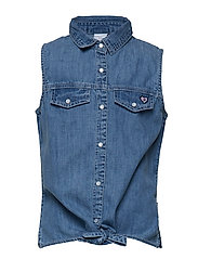 Top woven S/S school - LIGHT DENIM