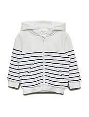 Sweatshirt Hood  Stripe Pre School - SNOW WHITE