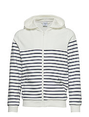 Sweatshirt Hood  Stripe  School - SNOW WHITE
