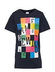 T-shirt Frontprint S/S School - DARK SAPPHIRE