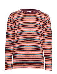 Top l/s striped School - BURNT BRICK