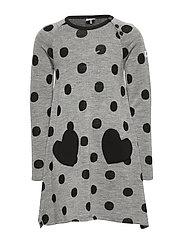 Dress l/s Wool AOP PreSchool - GREYMELANGE