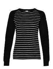 Long Sleeve Top Striped Adult - BLACK
