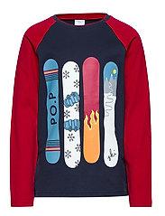 T-shirt l/s Frontprint School - DARK SAPPHIRE
